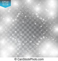 Efecto de luz brillante. Nube de polvo brillante. Ilustración de vectores. Navidad