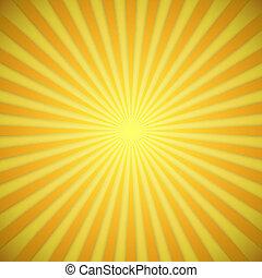 effect., amarillo, brillante, vector, plano de fondo, naranja, sombra, sunburst