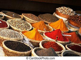 egipcio, especia, mercado