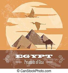 egipto, landmarks., diseñar, retro