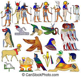 egipto, vario, antiguo, temas