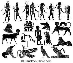 egipto, vector, antiguo, temas