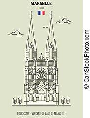 Eglise Saint-vincent-de-paul de marseille, Francia. icono de marca