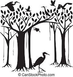 Egrets y banyan árbol forestal en Si