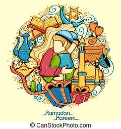 Eid Mubarak feliz eid trasfondo para el festival religioso islámico en el santo mes de Ramazan