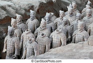 ejército, qin, terracota, xian, dinastía, china, (sian)