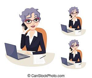 Ejecutiva femenina exitosa en conferencia