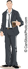 Ejecutivo masculino sosteniendo una taza de café