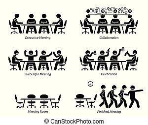 Ejecutivos teniendo reuniones eficaces y discusiones.