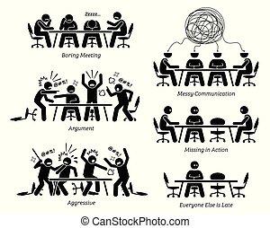 Ejecutivos teniendo reuniones ineficaces e ineficientes.