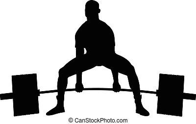 ejercicio, barra con pesas, powerlifter