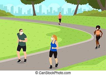 ejercicio, gente, distancing, mientras, practicar, ilustración, parque, social