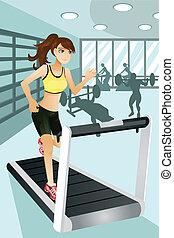 ejercicio, mujer, gimnasio