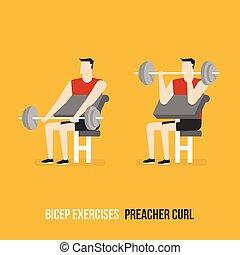 Ejercicios de bíceps. Rizos predicadores.