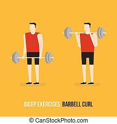 Ejercicios de bíceps. Un rizo.