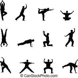 Ejercicios y siluetas de yoga
