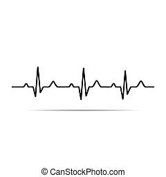 ekg, corazón, vector, ritmo, ilustración