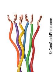 eléctrico, cables, sistemas, potencia