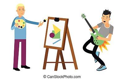 eléctrico, conjunto, tocar la guitarra, hombre, joven, vector, dibujo, ilustración