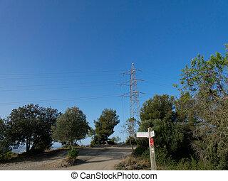 eléctrico, ocaso, pylons), (electricity, transmisión domina