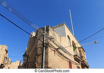 eléctrico, pared, desordenado, esquina, cables, malta