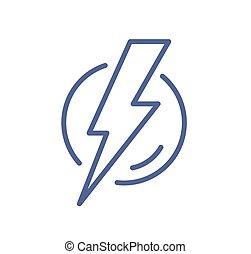 eléctrico, símbolo, circle., relámpago, trueno, vector, bolt., blanco, ilustración, energía, electricidad, señal, plano, danger., lineal, destello, o, plano de fondo, simple, aislado, línea, icono, carga, arte, potencia