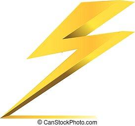 eléctrico, trueno, símbolo, carga, vector, icono