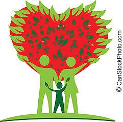 El árbol de la familia adora el logo del corazón