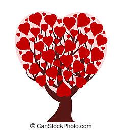El árbol del corazón está aislado en la espalda blanca