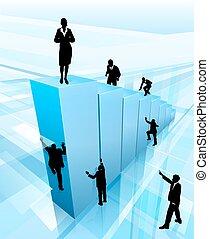 El éxito concepto de negocios la gente siluetas