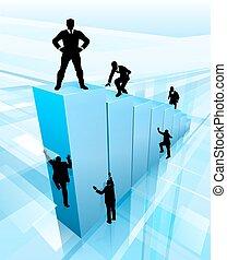 El éxito de los negocios la gente siluetas concepto