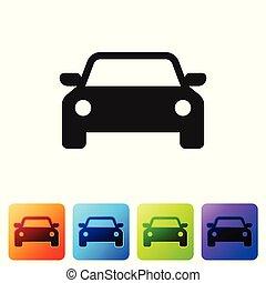 El ícono de Black Car aislado en el fondo blanco. Pon icono en botones cuadrados de color. Ilustración de vectores