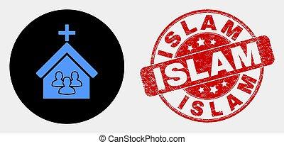 El ícono de la iglesia Vector y el sello del Islam grunge