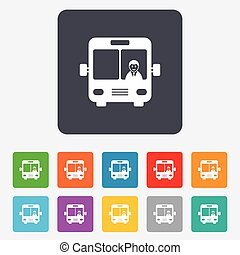 El ícono de la señal de autobús. El símbolo de transporte público.