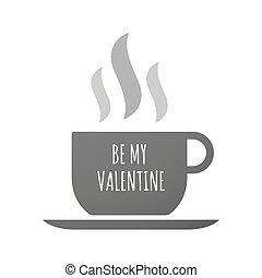 El ícono de la taza de café con el texto es MI VALENTINE