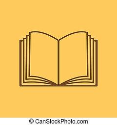 El ícono de libro abierto. Manual y tutorial, símbolo de instrucciones. Plano