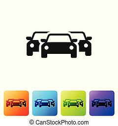 El ícono de los Autos Negros aislado en el fondo blanco. Pon icono en botones cuadrados de color. Ilustración de vectores