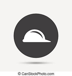 El ícono de los cascos. El símbolo del casco de construcción.