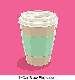 El ícono de una taza de café de papel en una ilustración de vectores rosa