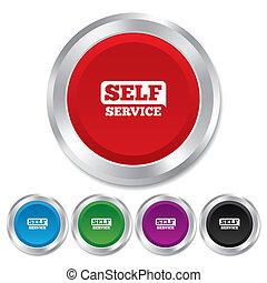 El ícono del auto servicio. Botón de mantenimiento.