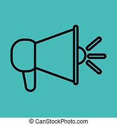El ícono del megáfono habla de la red social de fondo azul
