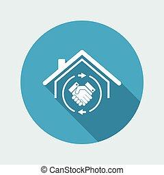 El acuerdo mutuo, bienes raíces, icono web de Vector