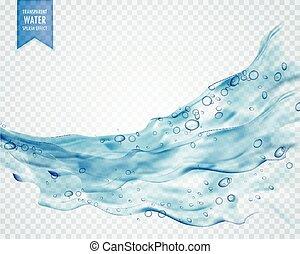 El agua azul salpica con burbujas en el fondo transparente