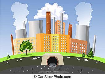 El aire de la fábrica y la contaminación del agua