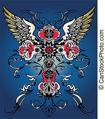El ala voladora cruza el emblema heráldico tribal