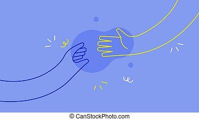 el alcanzar hacia fuera, gente, manos, cada, concepto, otro