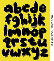 El alfabeto de burbujas de la parte inferior negra