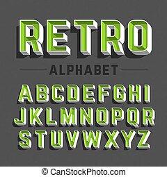 El alfabeto de estilo retro