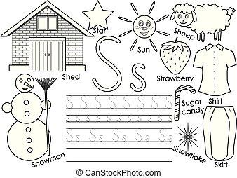 El alfabeto de letras S. Inglés. Escribir práctica para niños. Juego de niños. Libro de color. Ilustración de vectores.