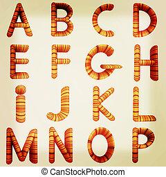El alfabeto de madera. Ilustración 3D. Estilo antiguo.